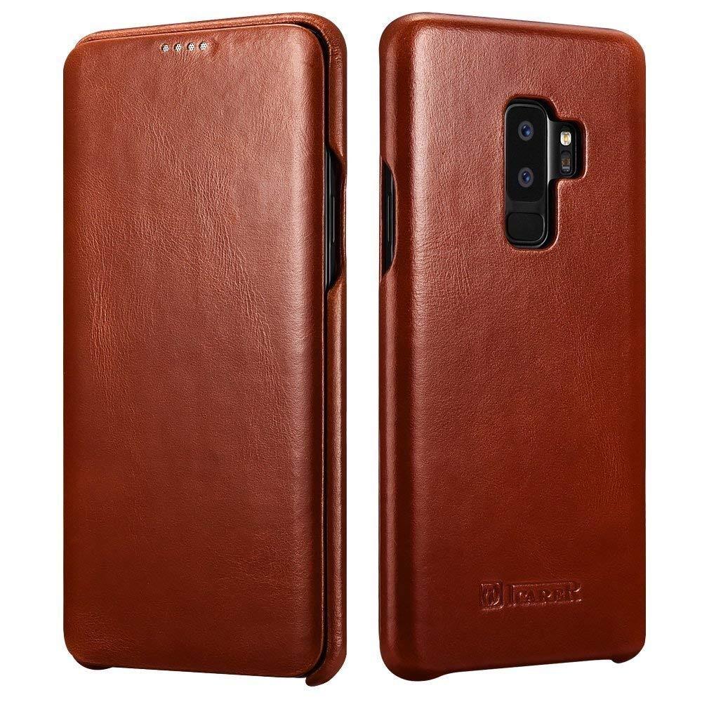 Husa din piele naturala tip carte cu clapeta curbata, Samsung Galaxy S9 Plus - iCARER Vintage, Maro coniac