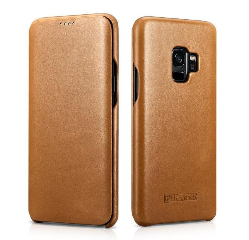Husa din piele naturala tip carte cu clapeta curbata, Samsung Galaxy S9 - iCARER Vintage, Camel