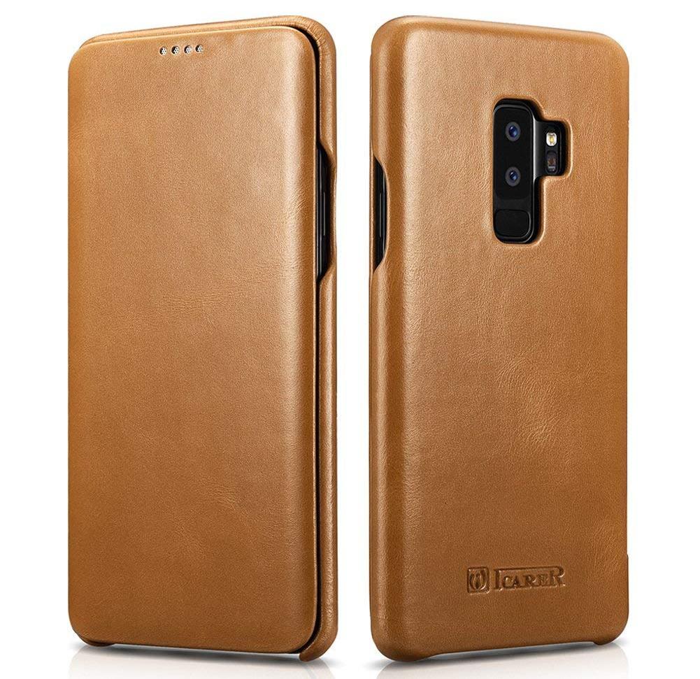 Husa din piele naturala tip carte cu clapeta curbata, Samsung Galaxy S9 Plus - iCARER Vintage, Camel