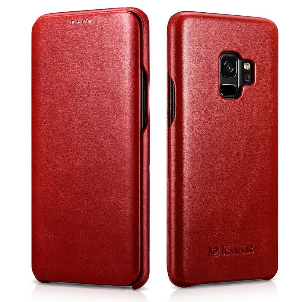 Husa din piele naturala tip carte cu clapeta curbata, Samsung Galaxy S9 - iCARER Vintage, Rosu burgund