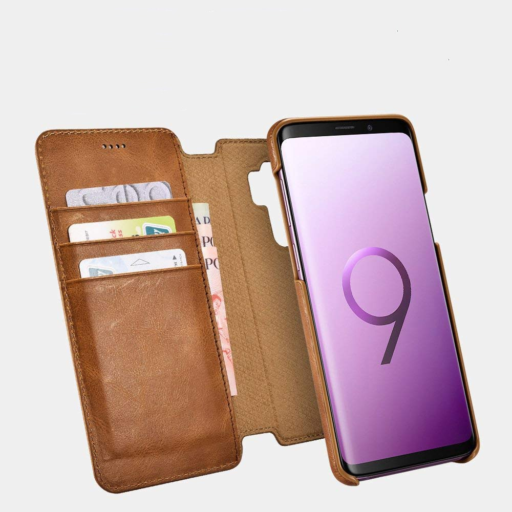 Husa piele naturala 2in1, inchidere magnetica, tip carte + back cover, Samsung Galaxy S9 Plus - iCarer Distinguished, Maro