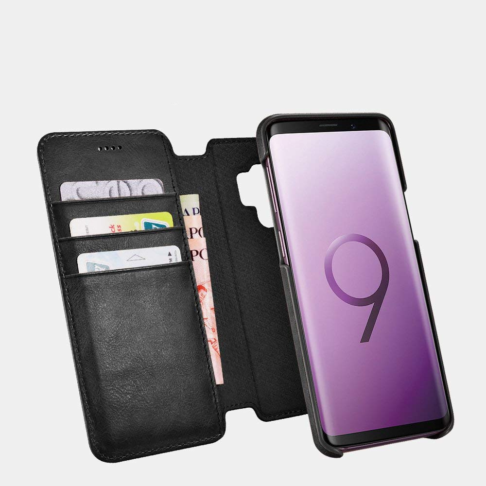 Husa piele naturala 2in1, inchidere magnetica, tip carte + back cover, Samsung Galaxy S9 - iCarer Distinguished, Negru