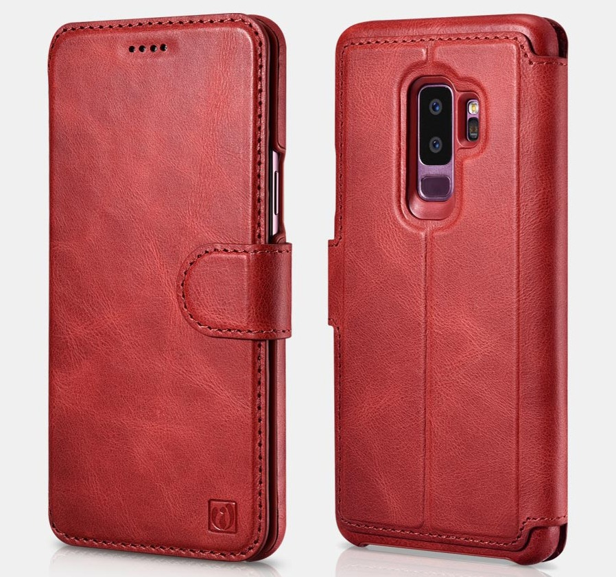 Husa piele naturala 2in1, inchidere magnetica, tip carte + back cover, Samsung Galaxy S9 Plus - iCarer Distinguished, Rosu