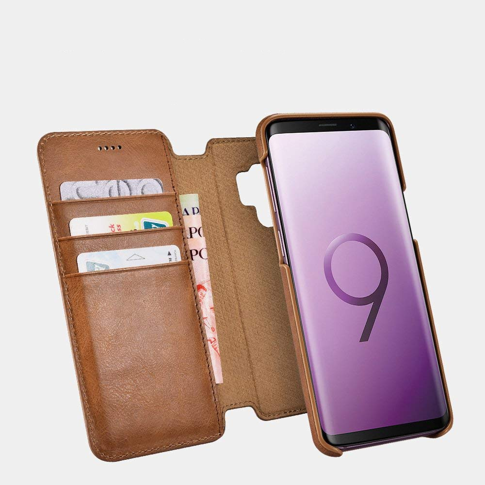 Husa piele naturala 2in1, inchidere magnetica, tip carte + back cover, Samsung Galaxy S9 - iCarer Distinguished, Maro