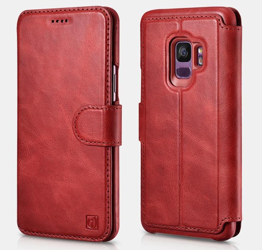 Husa piele naturala 2in1, inchidere magnetica, tip carte + back cover, Samsung Galaxy S9 - iCarer Distinguished, Rosu
