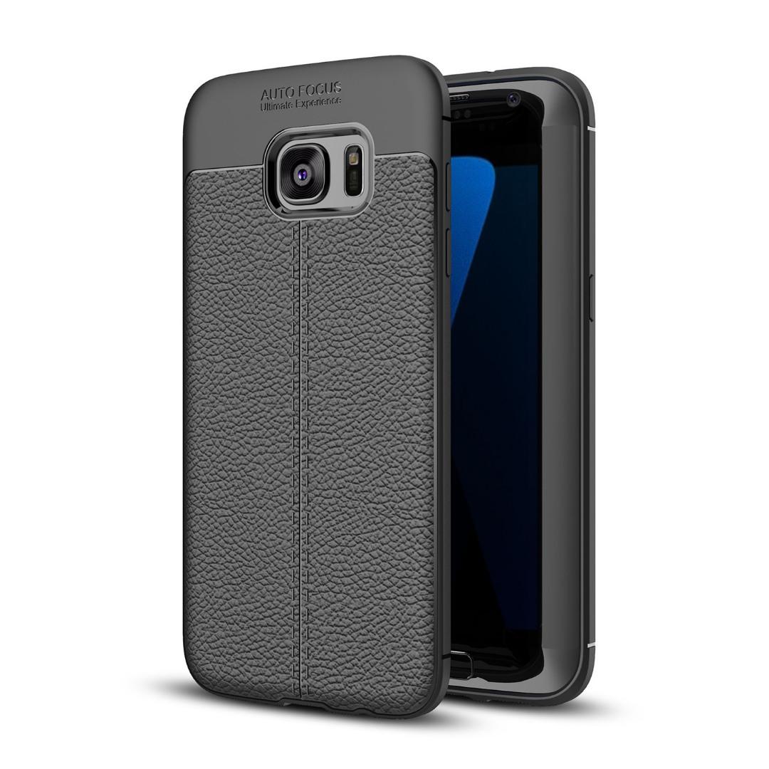 Husa silicon + TPU cu model piele, back cover, Samsung Galaxy S7 Edge - CaseME, Negru