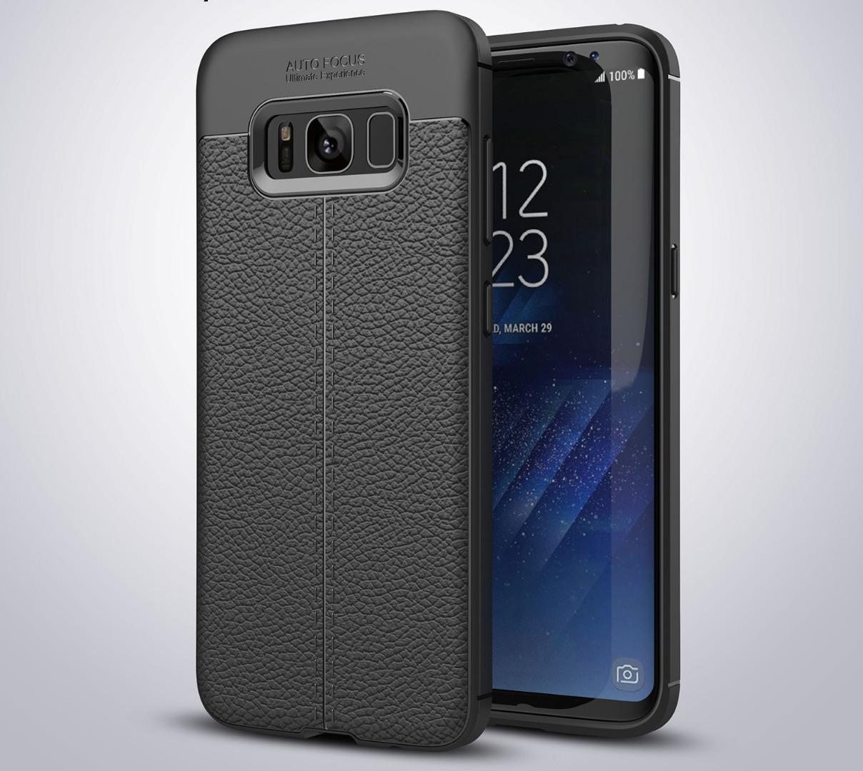 Husa silicon + TPU cu model piele, back cover, Samsung Galaxy S8 - CaseME, Negru