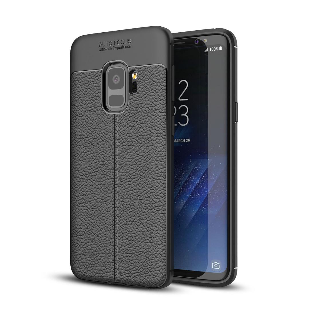 Husa silicon + TPU cu model piele, back cover, Samsung Galaxy S9 - CaseME, Negru