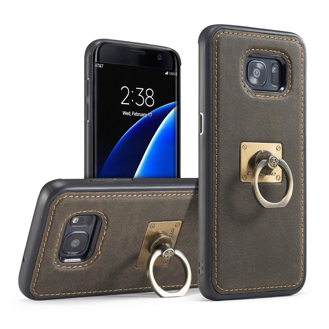 Husa slim piele, cu inel detasabil, back cover, Samsung Galaxy S7 Edge - CaseME, Maro coffee