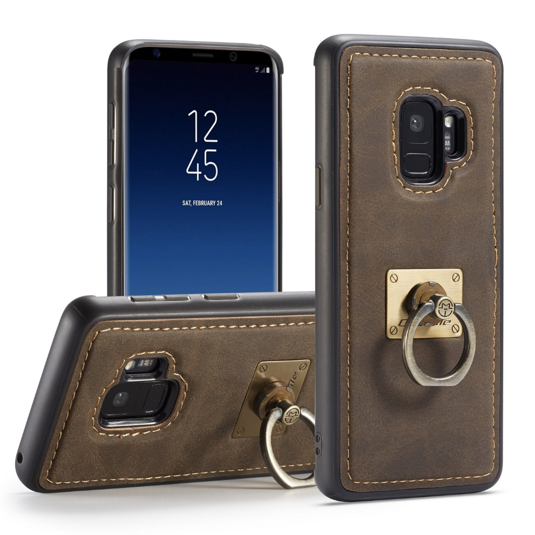 Husa slim piele, cu inel detasabil, back cover, Samsung Galaxy S9 - CaseME, Maro coffee