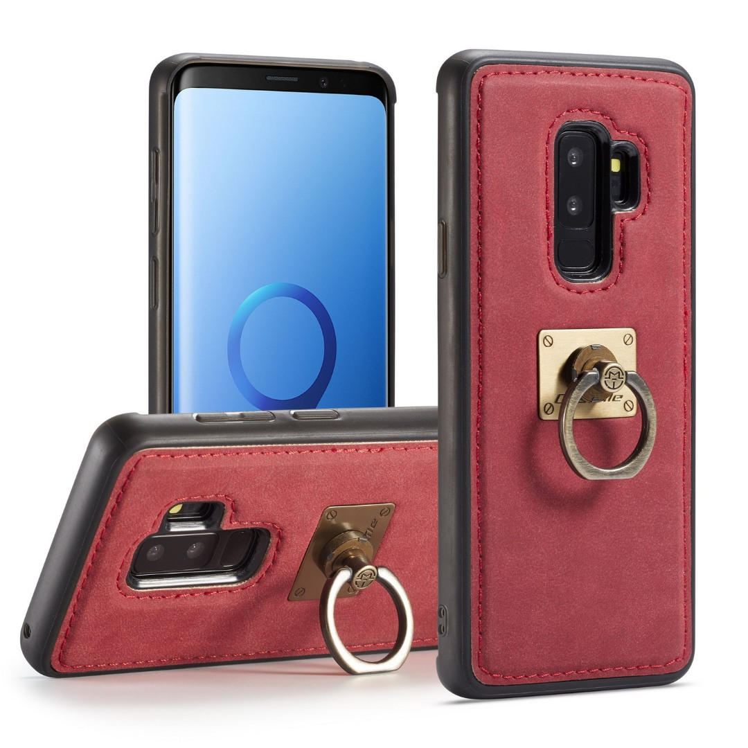 Husa slim piele, cu inel detasabil, back cover, Samsung Galaxy S9 Plus - CaseME, Rosu