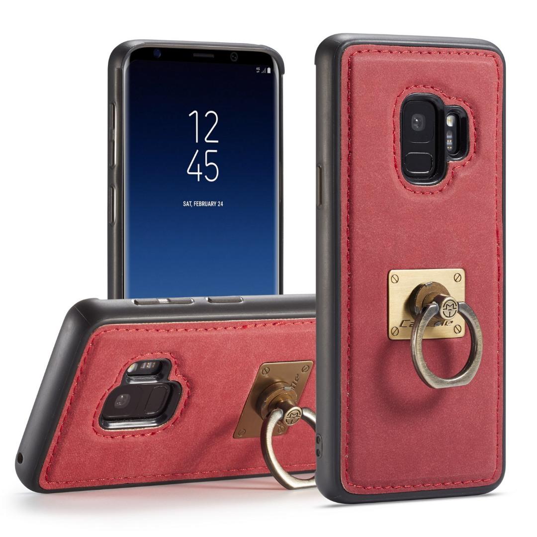 Husa slim piele, cu inel detasabil, back cover, Samsung Galaxy S9 - CaseME, Rosu