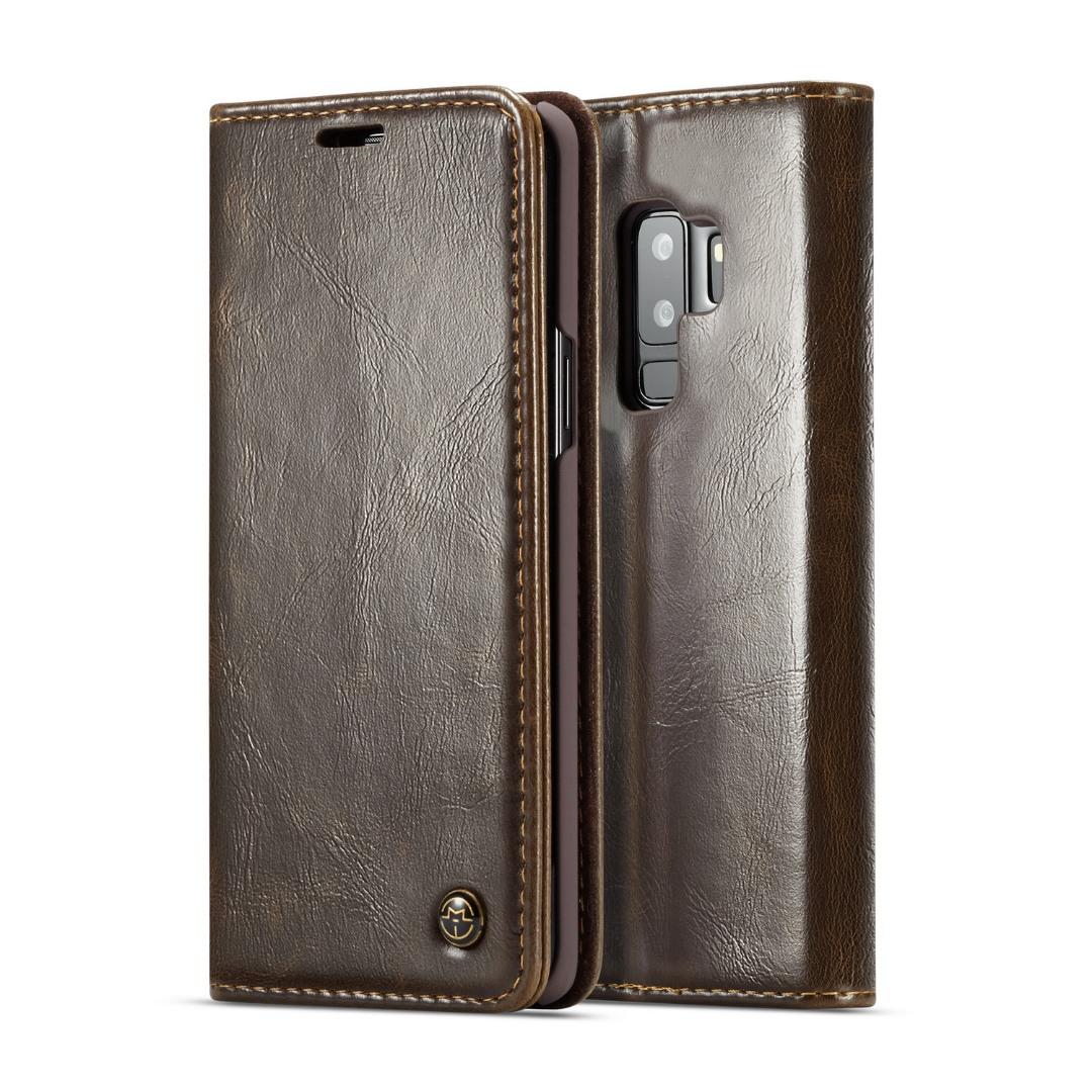 Husa piele fina, tip portofel, stand, inchidere magnetica, Samsung Galaxy S9 Plus - CaseMe, Maro coffee