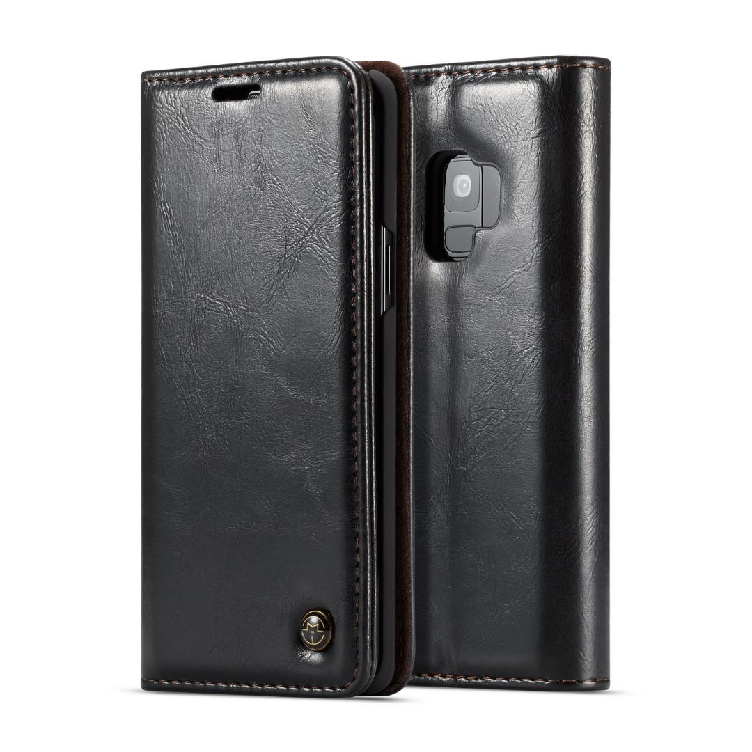 Husa piele fina, tip portofel, stand, inchidere magnetica, Samsung Galaxy S9 - CaseMe, Negru