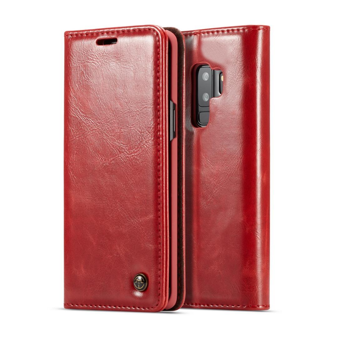 Husa piele fina, tip portofel, stand, inchidere magnetica, Samsung Galaxy S9 Plus - CaseMe, Rosu