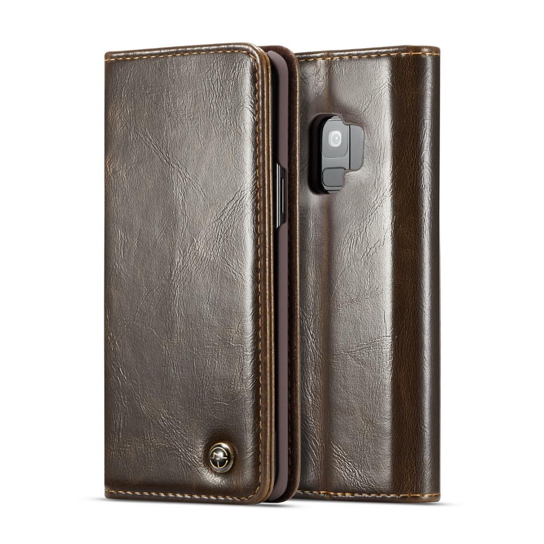 Husa piele fina, tip portofel, stand, inchidere magnetica, Samsung Galaxy S9 - CaseMe, Maro coffee