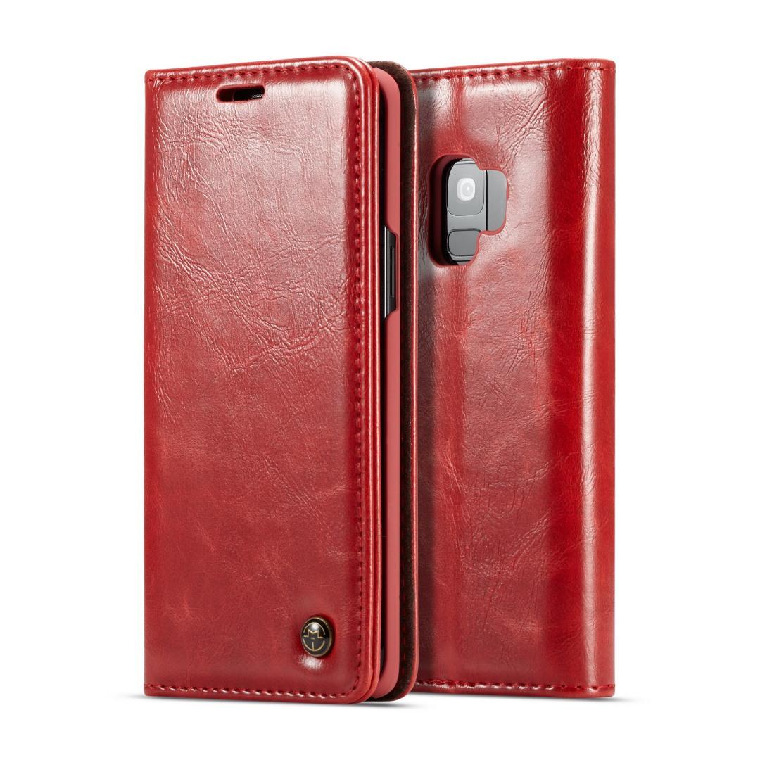 Husa piele fina, tip portofel, stand, inchidere magnetica, Samsung Galaxy S9 - CaseMe, Rosu