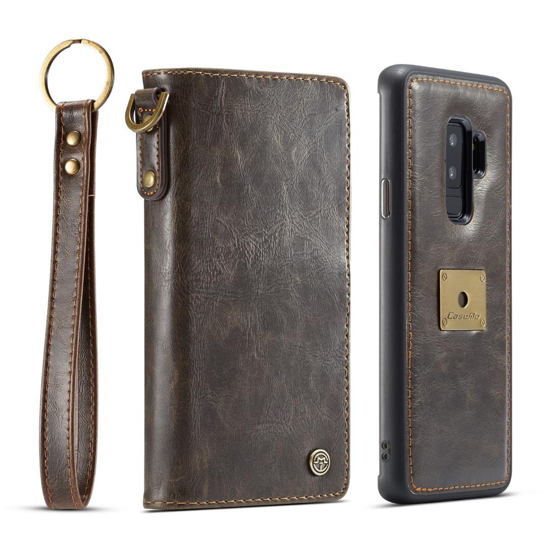 Husa piele portofel, multifunctionala, buzunare carduri, bani, casti, chei, Samsung Galaxy S9 Plus - CaseME, Maro coffee