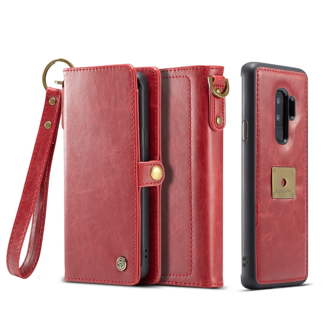 Husa piele portofel, multifunctionala, buzunare carduri, bani, casti, chei, Samsung Galaxy S9 Plus - CaseME, Rosu