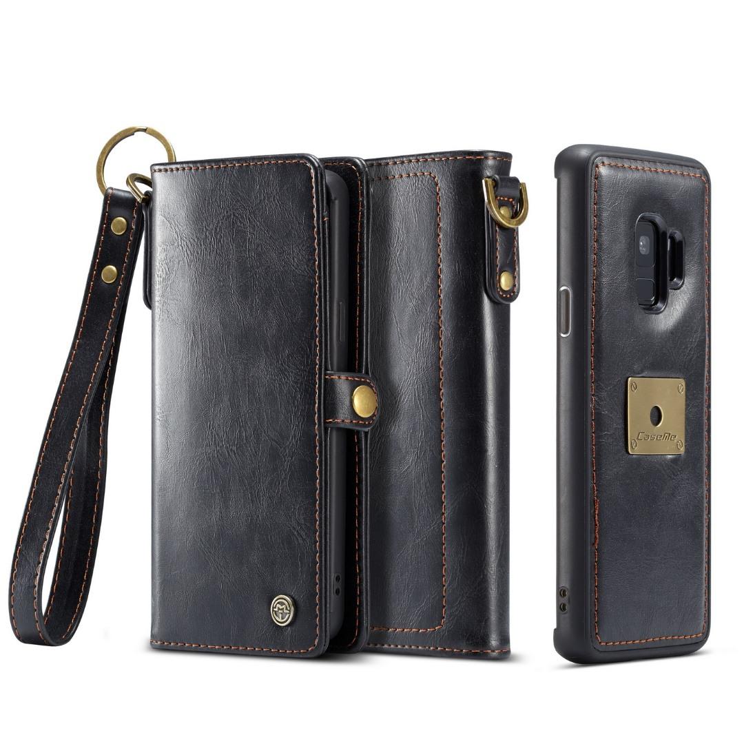 Husa piele portofel, multifunctionala, buzunare carduri, bani, casti, chei, Samsung Galaxy S9 - CaseME, Negru