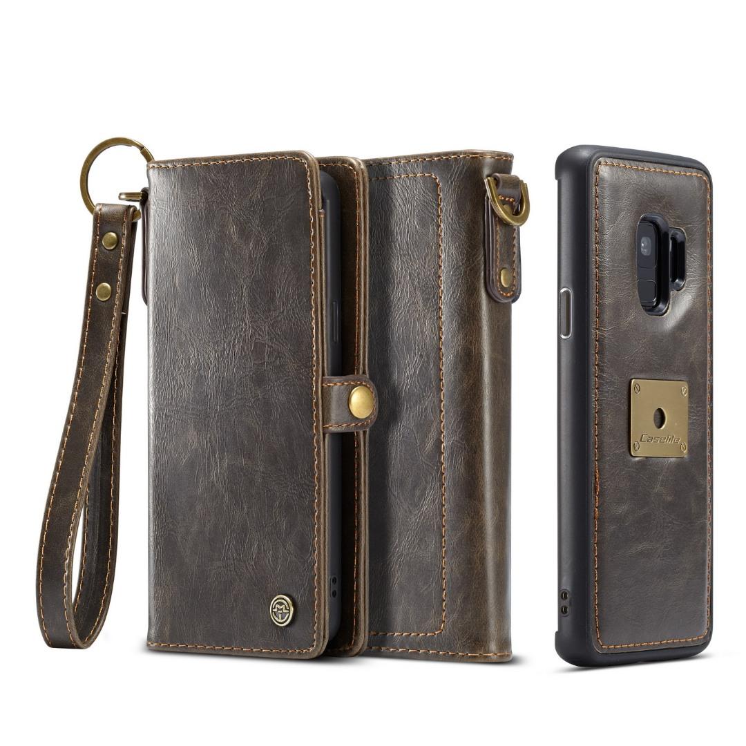 Husa piele portofel, multifunctionala, buzunare carduri, bani, casti, chei, Samsung Galaxy S9 - CaseME, Maro coffee
