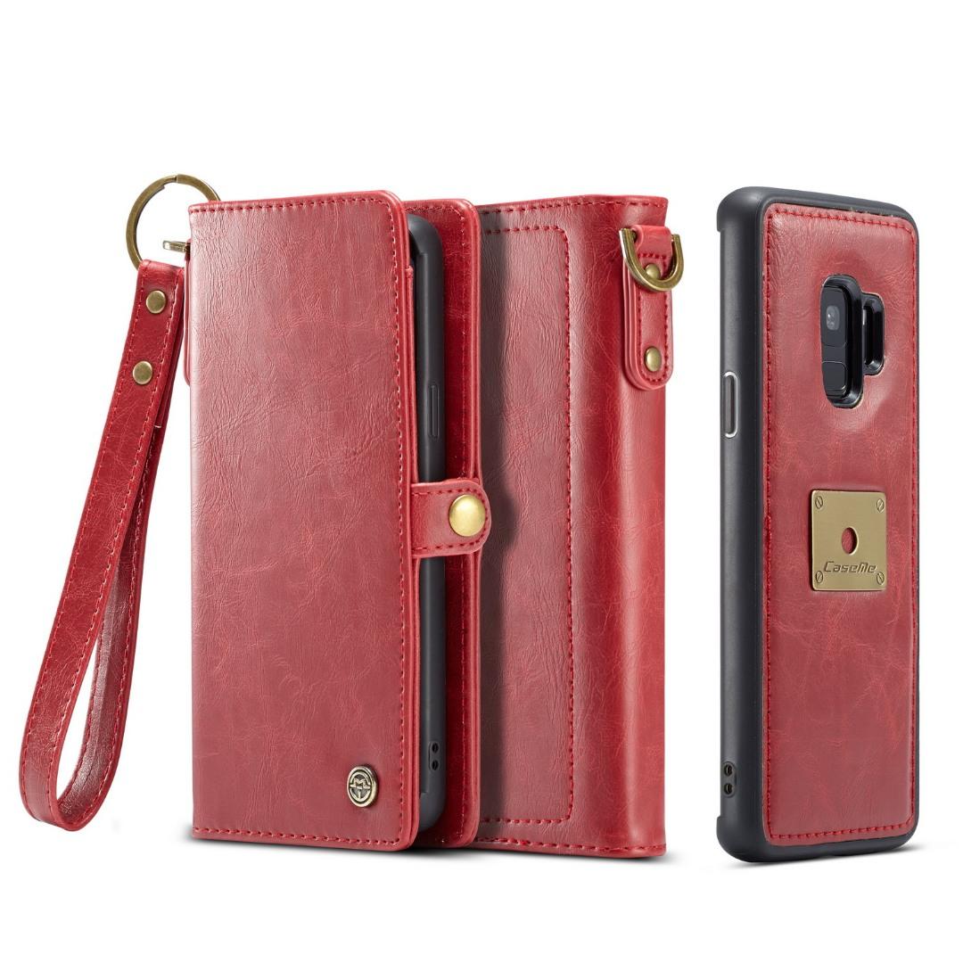 Husa piele portofel, multifunctionala, buzunare carduri, bani, casti, chei, Samsung Galaxy S9 - CaseME, Rosu
