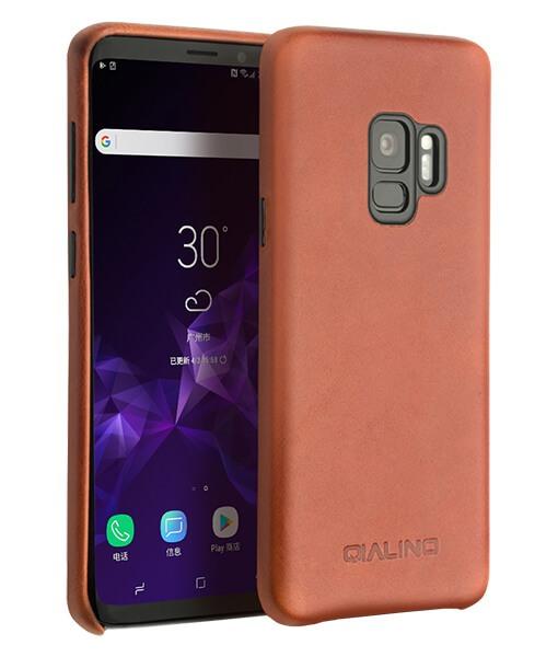 Husa slim din piele naturala de vitel, tip back cover, Samsung Galaxy S9 - Qialino, Maro tabac
