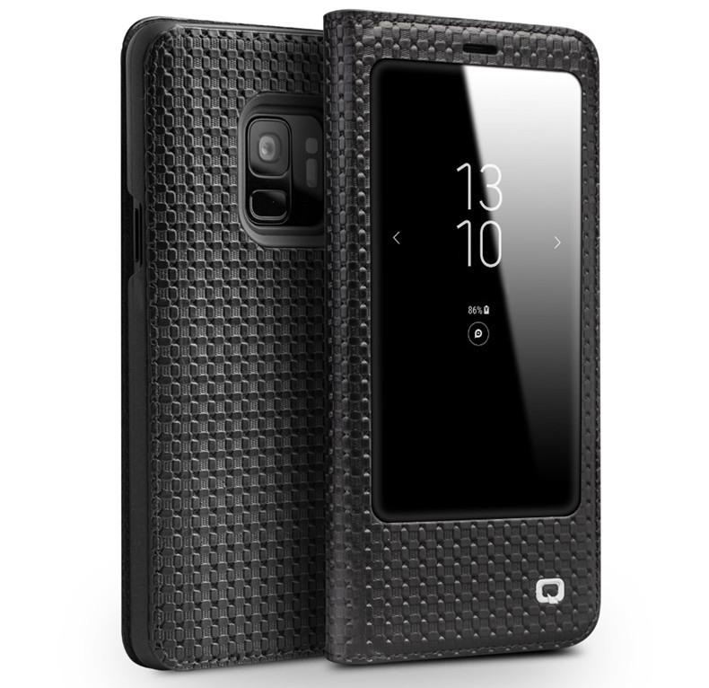 Husa slim din piele naturala, cu view, Samsung Galaxy S9 - Qialino Grid Leather, Negru