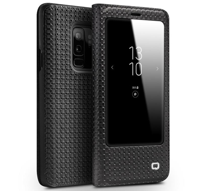 Husa slim din piele naturala, cu view, Samsung Galaxy S9 Plus - Qialino Grid Leather, Negru