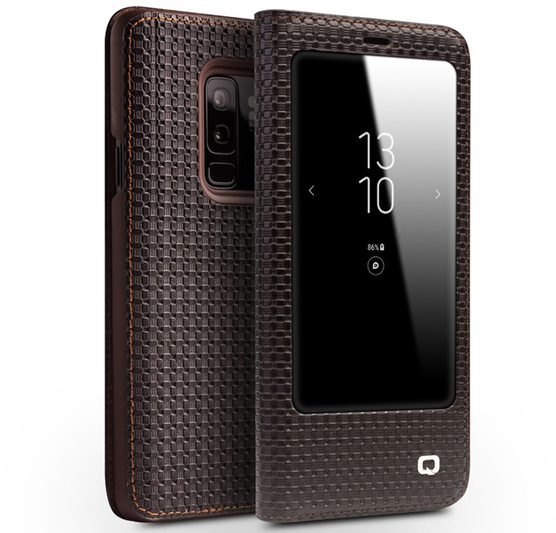 Husa slim din piele naturala, cu view, Samsung Galaxy S9 Plus - Qialino Grid Leather, Maro coffee