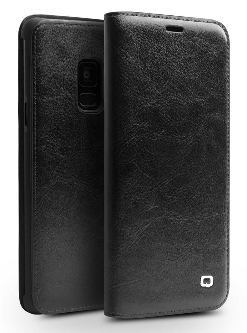 Husa din piele fina naturala tip carte, cu buzunar card, Samsung Galaxy S9 - Qialino Classic Wallet, Negru