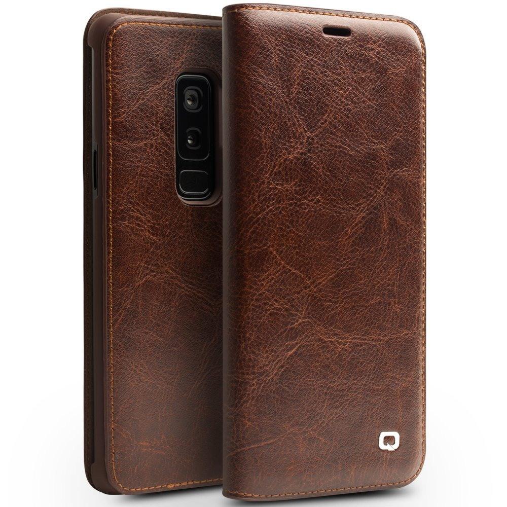 Husa din piele fina naturala tip carte, cu buzunar card, Samsung Galaxy S9 Plus - Qialino Classic Wallet, Maro coffee