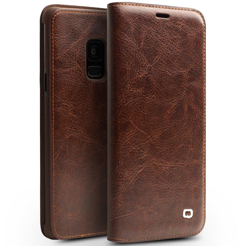 Husa din piele fina naturala tip carte, cu buzunar card, Samsung Galaxy S9 - Qialino Classic Wallet, Maro coffee