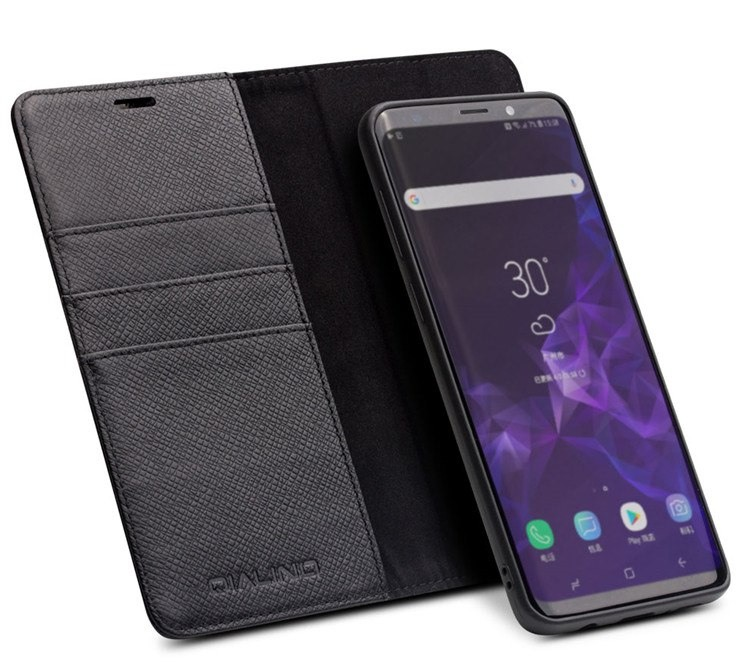 Husa multifunctionala 2 in 1 piele naturala, tip carte + back cover, stand, Samsung Galaxy S9 - Qialino, Negru