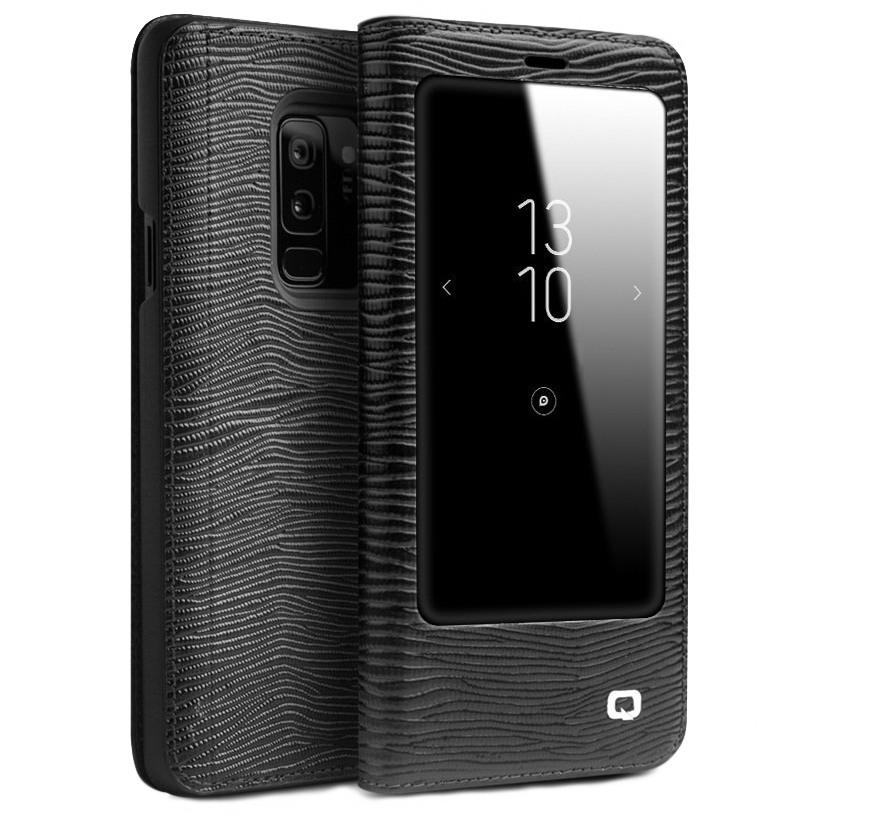 Husa slim din piele naturala, cu view, Samsung Galaxy S9 Plus - Qialino Lizard Leather, Negru