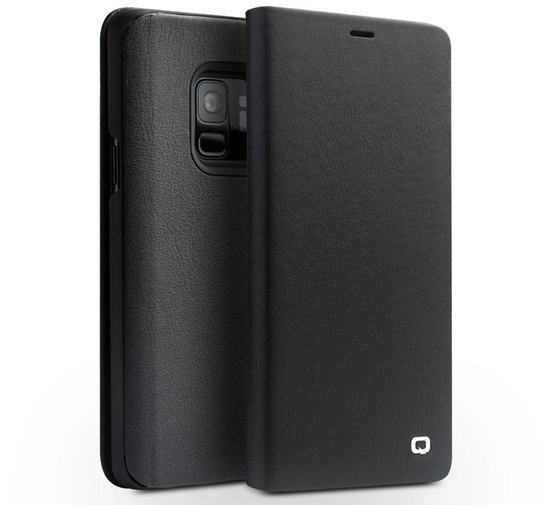 Husa din piele moale naturala, functie stand, Samsung Galaxy S9 - Qialino, Negru