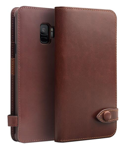Husa piele naturala, inchidere sigura cu capsa, cu buzunare bani si carduri, Samsung Galaxy S9 - Qialino, Maro coffee