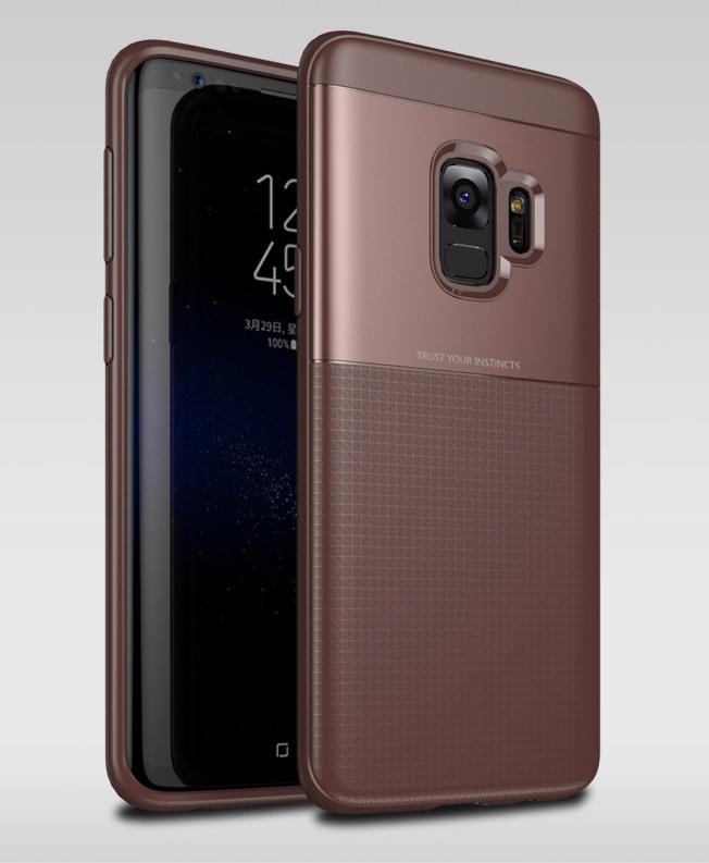 Husa protectie inalta 360 grade, TPU moale + PC, Samsung Galaxy S9 - Jison Case, Maro