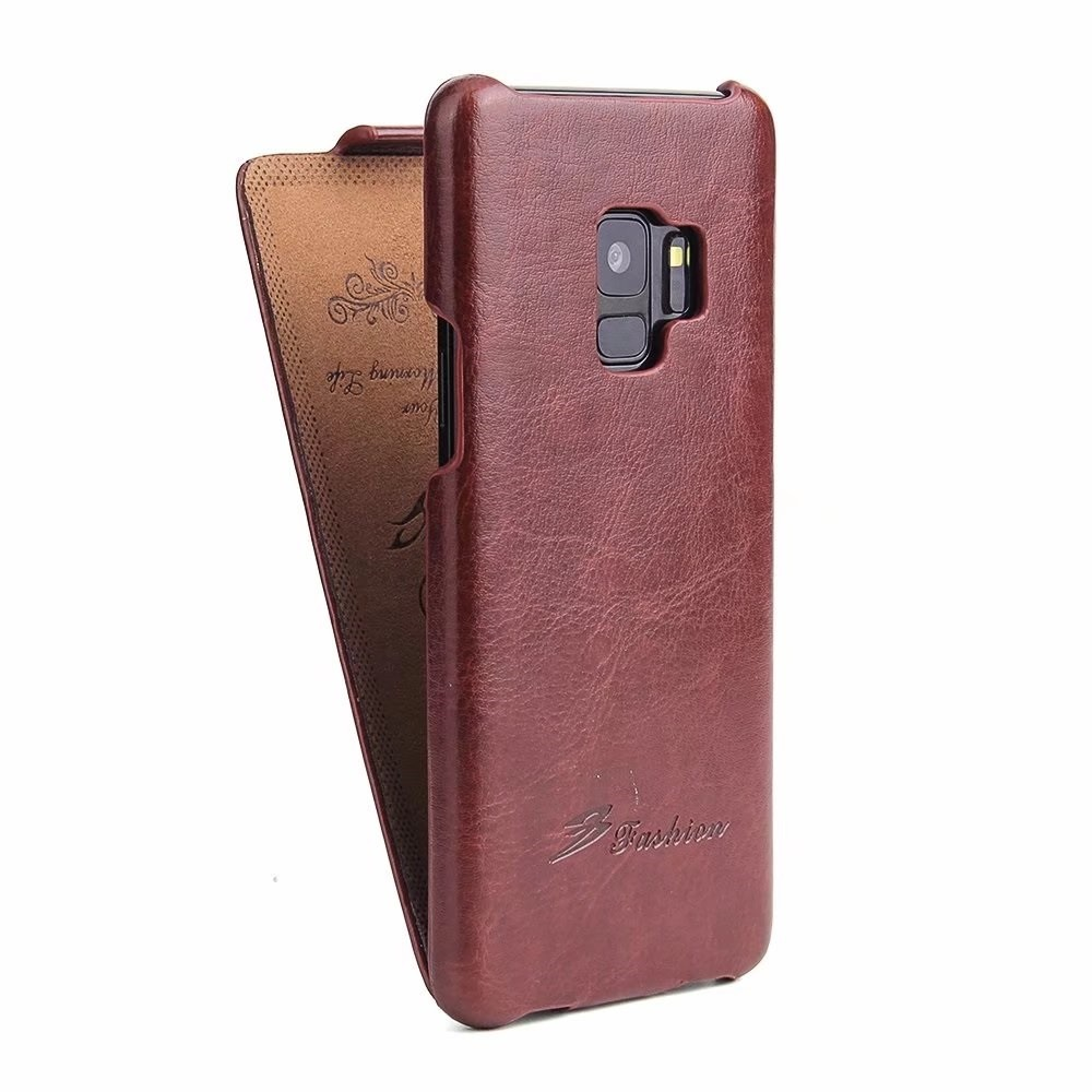 Husa piele fina, tip flip cover, Samsung Galaxy S9 - CaseMe, Maro coniac