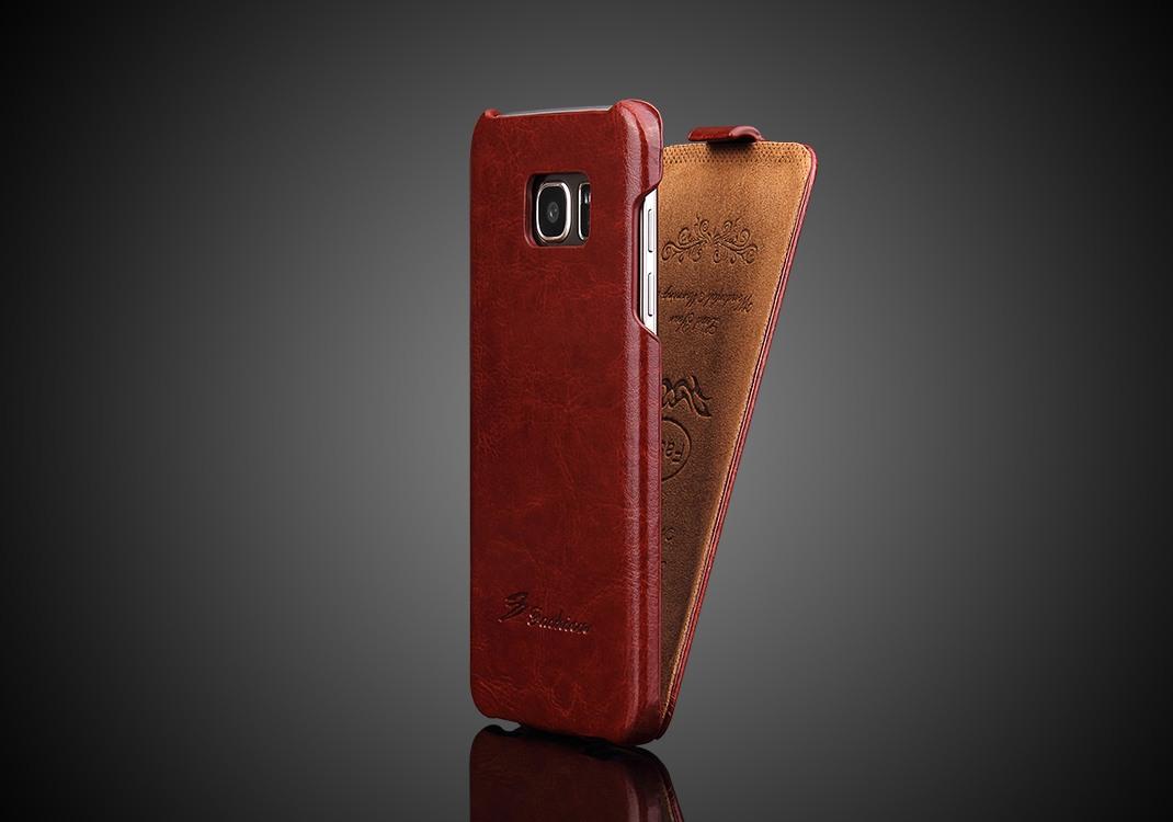 Husa piele fina, tip flip cover, Samsung Galaxy S7 Edge - CaseMe, Maro coniac