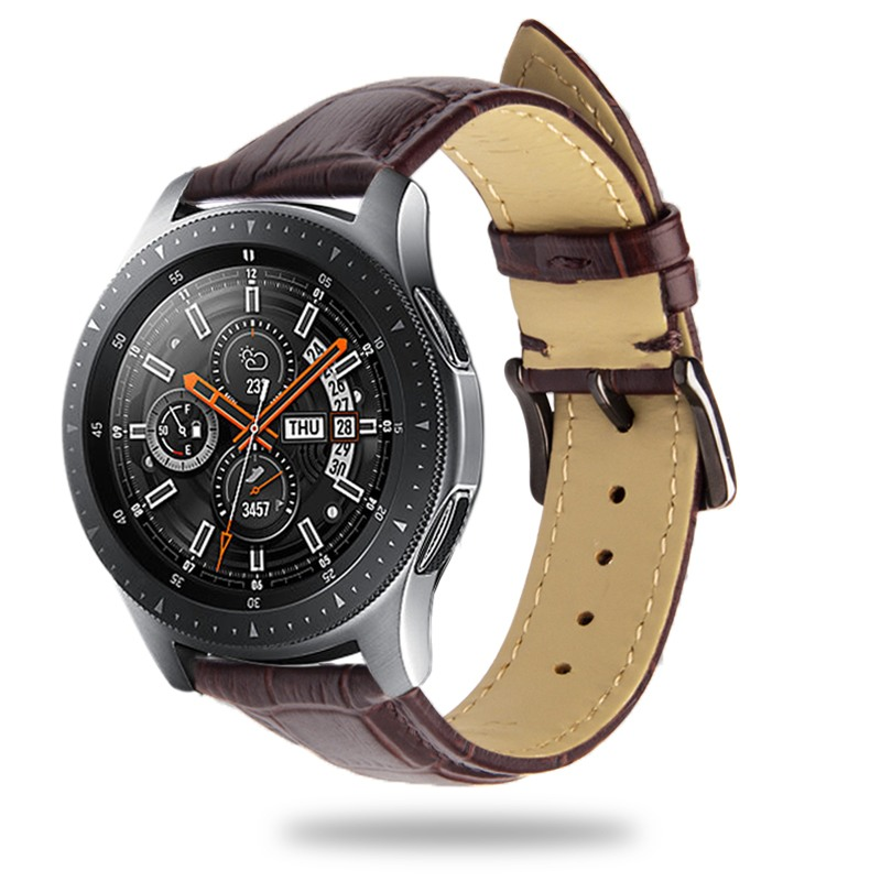 Curea piele naturala aspect croco, Samsung Galaxy Watch 46mm, Samsung Gear S3 Classic, S3 Frontier, 22mm, ROPS by Qialino, Maro coffee