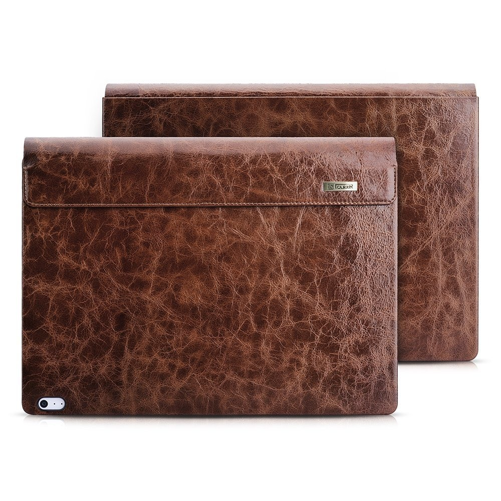 Husa laptop piele naturala iCarer Oil Wax Vintage, Microsoft Surface Book / Book 2 / Book 3, 13.5inch, Maro coffee