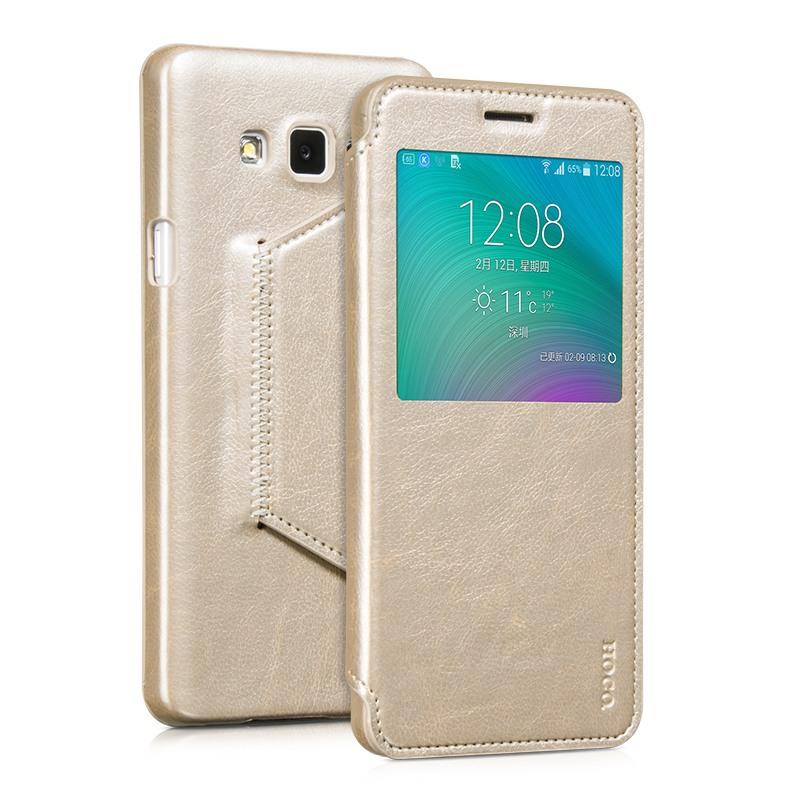 Husa slim piele, tip carte, Samsung Galaxy A7 (2015) - HOCO Crystal Classic Series, Gold