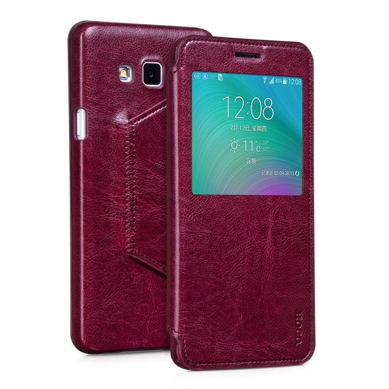 Husa slim piele, tip carte, Samsung Galaxy A7 (2015) - HOCO Crystal Classic Series, Rosu burgund