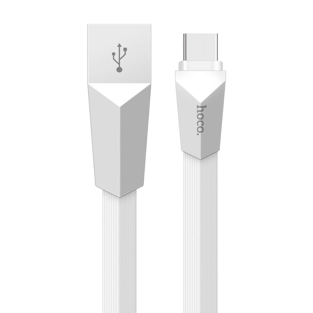 Cablu incarcare mufe din aliaj de zinc, cablu plat, rezistenta sporita, USB + Type C - Hoco, Alb