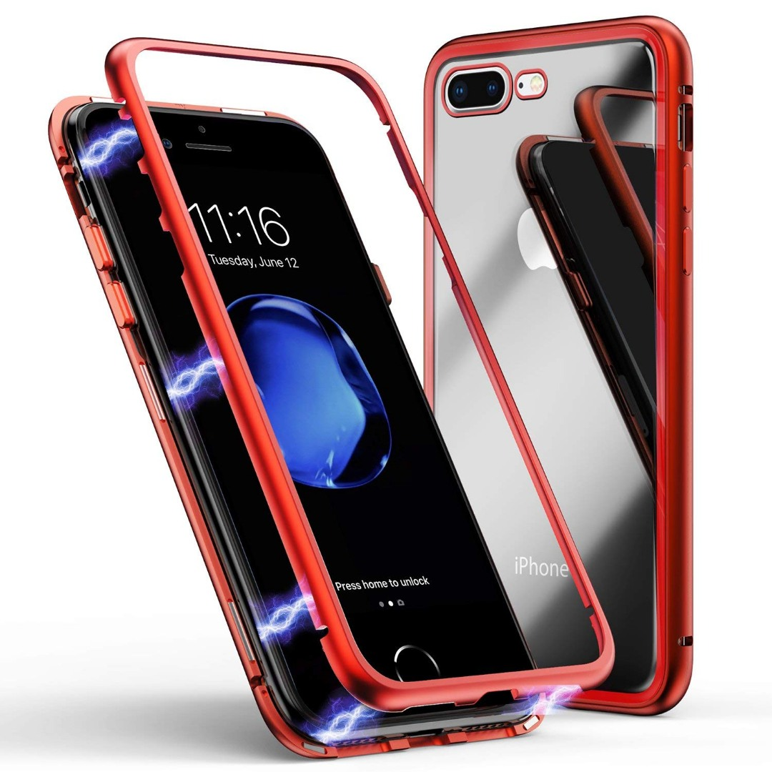 Husa tip bumper magnetic + folie sticla securizata spate, iPhone 8 Plus / 7 Plus - CaseMe, Rosu