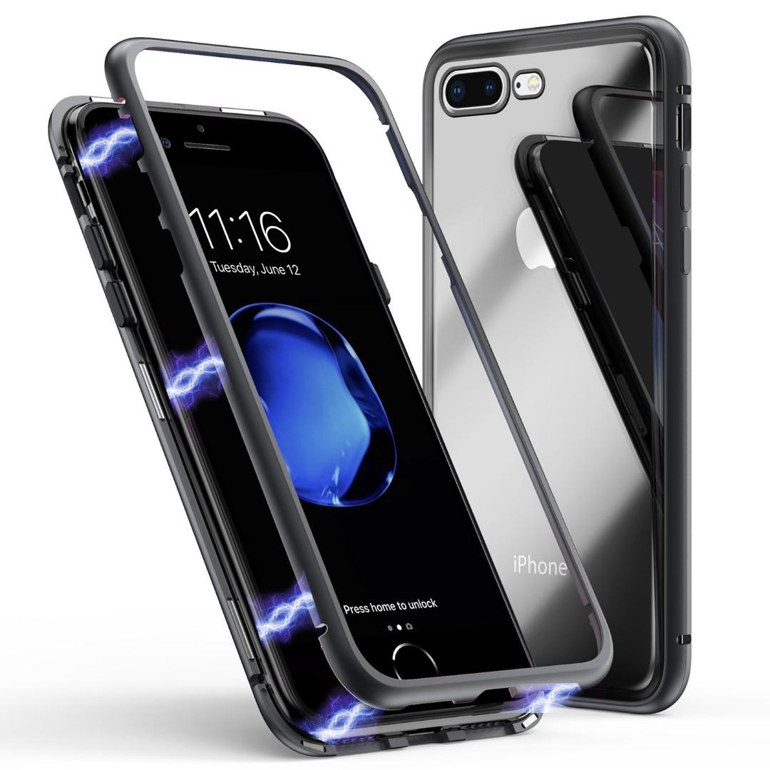 Husa tip bumper magnetic + folie sticla securizata spate, iPhone 8 Plus / 7 Plus - CaseMe, Negru