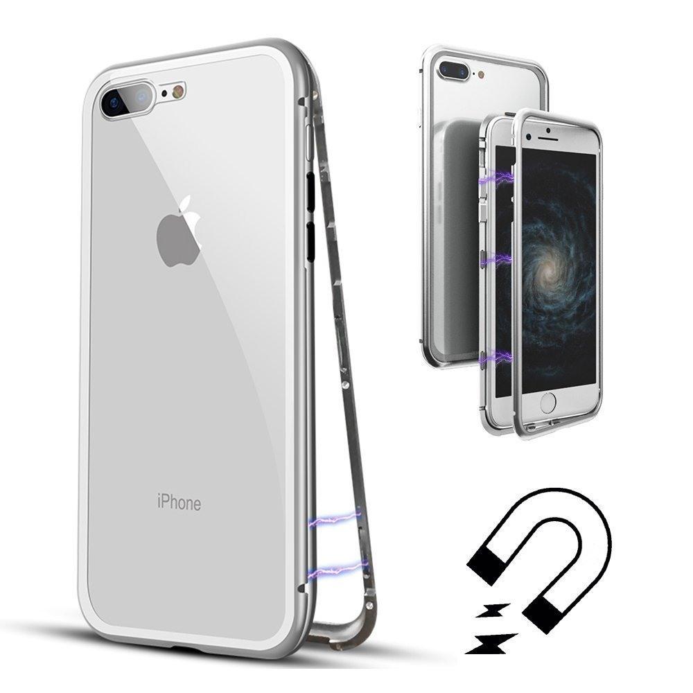 Husa tip bumper magnetic + folie sticla securizata spate, iPhone 8 Plus / 7 Plus - CaseMe, Alb