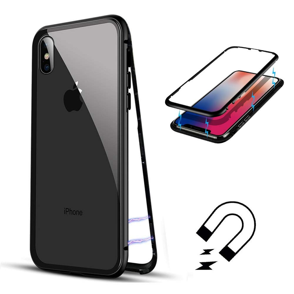 Husa tip bumper magnetic din aluminiu usor + folie sticla securizata spate, iPhone X / XS - CaseMe, Negru