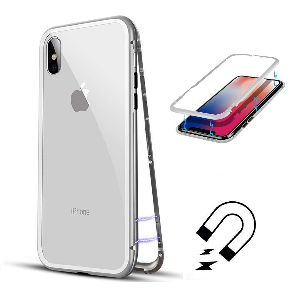 Husa tip bumper magnetic din aluminiu usor + folie sticla securizata spate, iPhoneX / XS - CaseMe, Argintiu